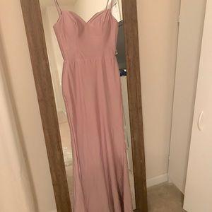 Plunging back mermaid rose / blush long dress